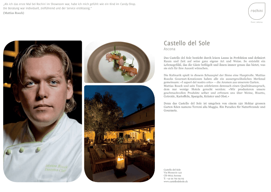 Castello OUR REFERENCEBOOK   passion   unique concept   friends   culinary world   enthusiasm