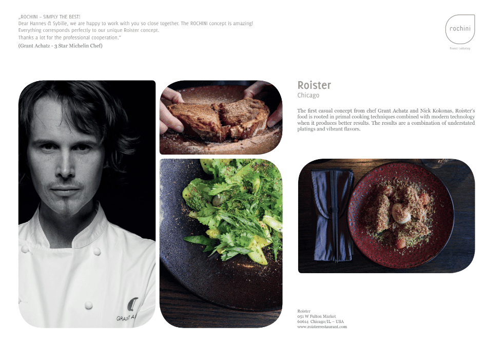 Roister OUR REFERENCEBOOK   passion   unique concept   friends   culinary world   enthusiasm