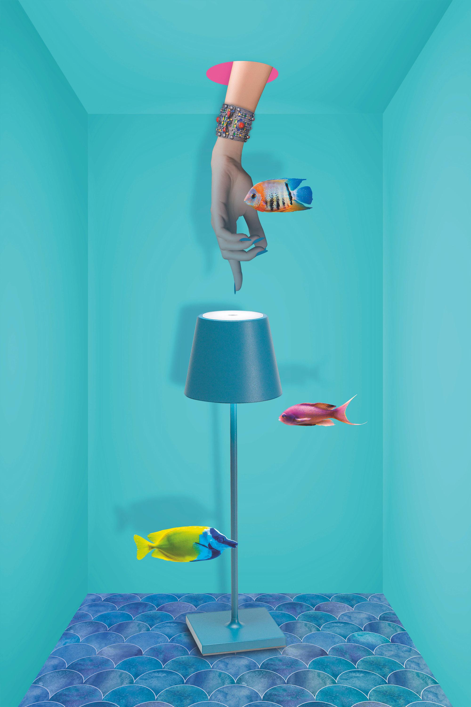 AiLati Poldina table BLUE Lampe a´porter