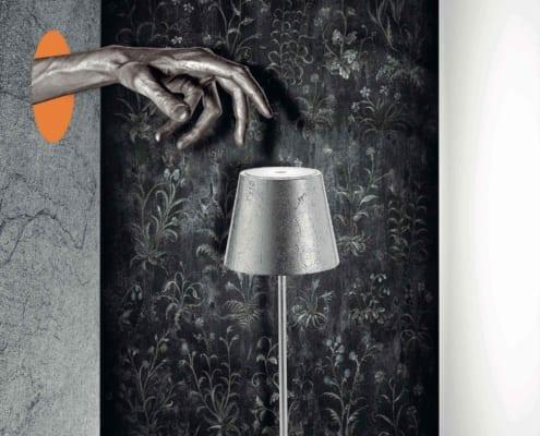 AiLati Poldina table SILVER 495x400 Lampe a´porter