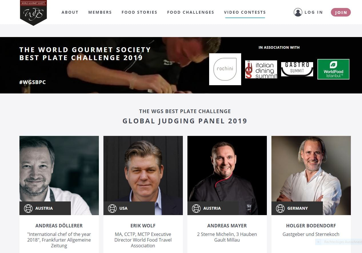 wgs THE WORLD GOURMET SOCIETY BEST PLATE CHALLENGE 2019